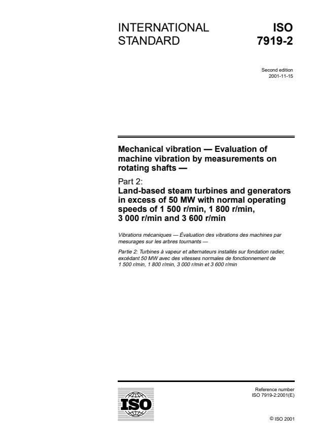 ISO 7919-2:2001 - Mechanical vibration -- Evaluation of machine vibration by measurements on rotating shafts