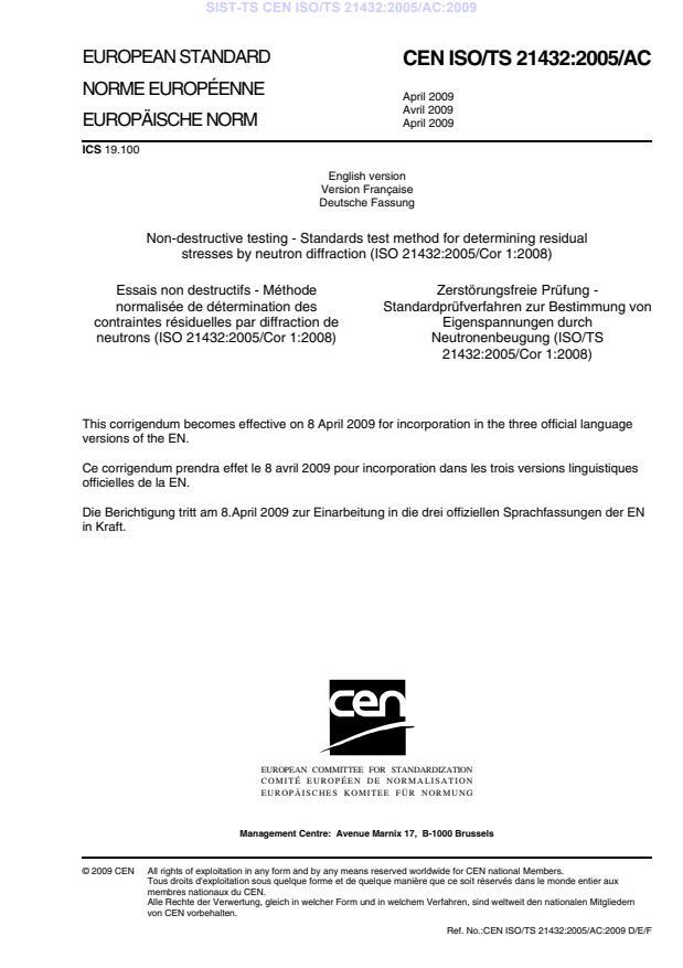 SIST-TS CEN ISO/TS 21432:2005/AC:2009