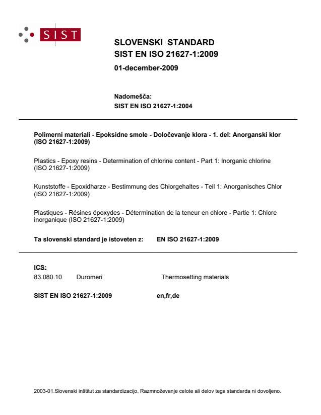 SIST EN ISO 21627-1:2009