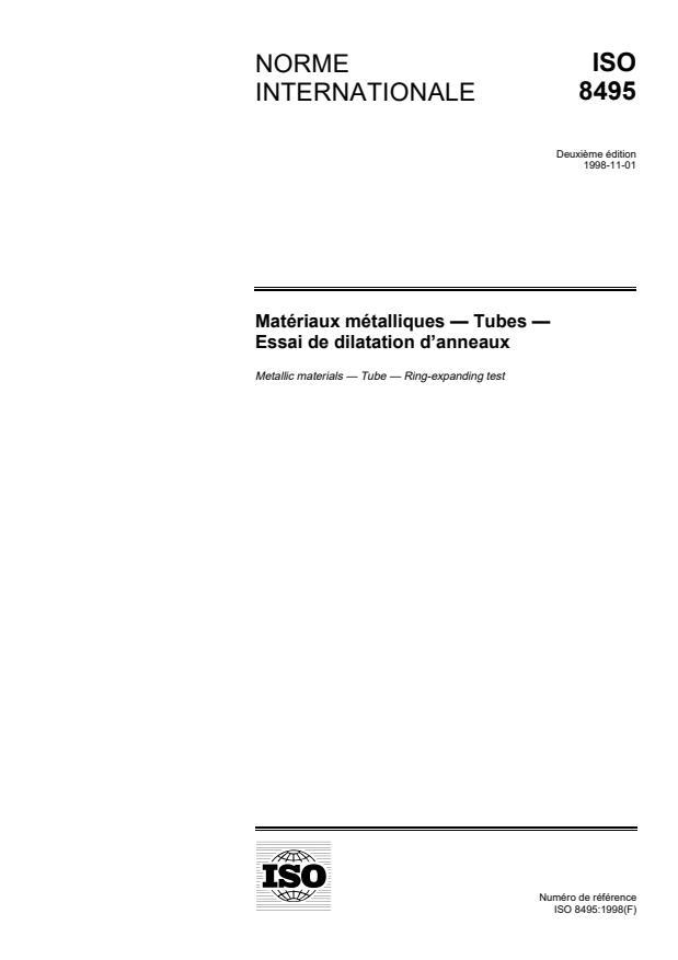 ISO 8495:1998 - Matériaux métalliques -- Tubes -- Essai de dilatation d'anneaux