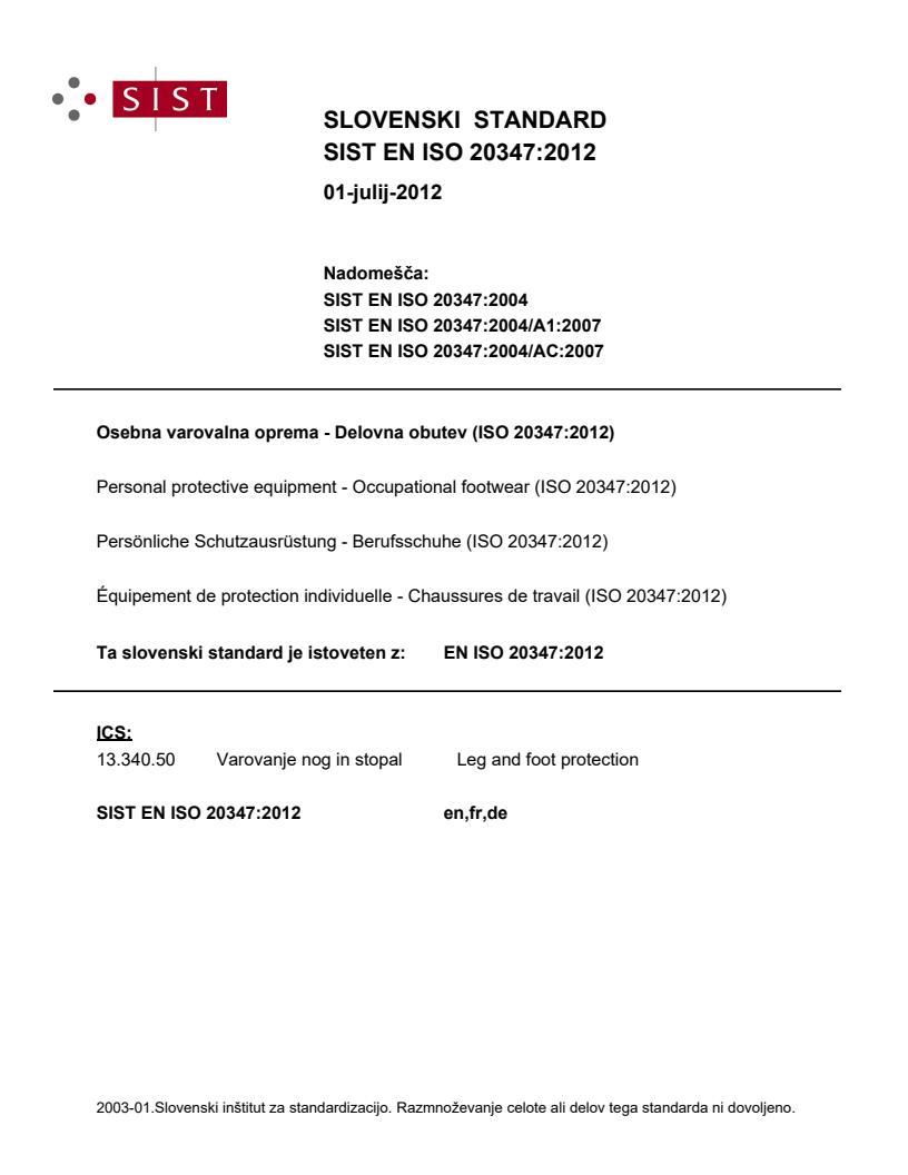 SIST EN ISO 20347:2012 - natisnjeno za čitalnico