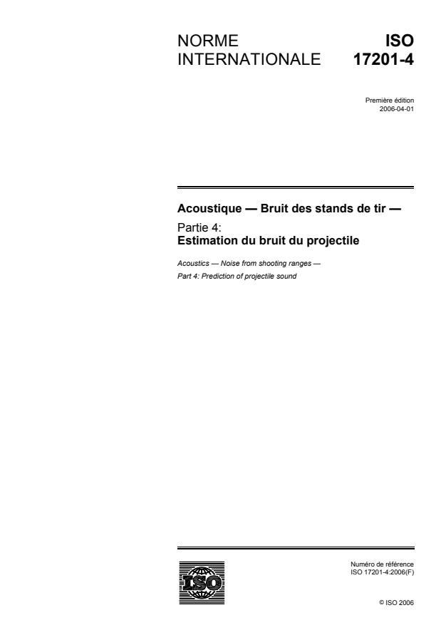 ISO 17201-4:2006 - Acoustique -- Bruit des stands de tir