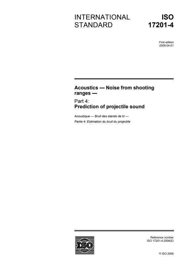 ISO 17201-4:2006 - Acoustics -- Noise from shooting ranges