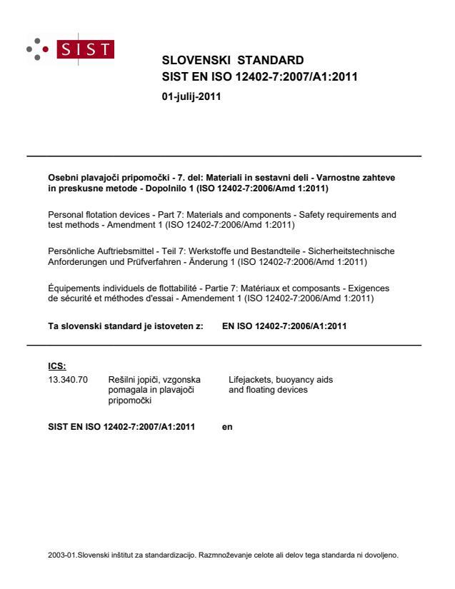 SIST EN ISO 12402-7:2007/A1:2011