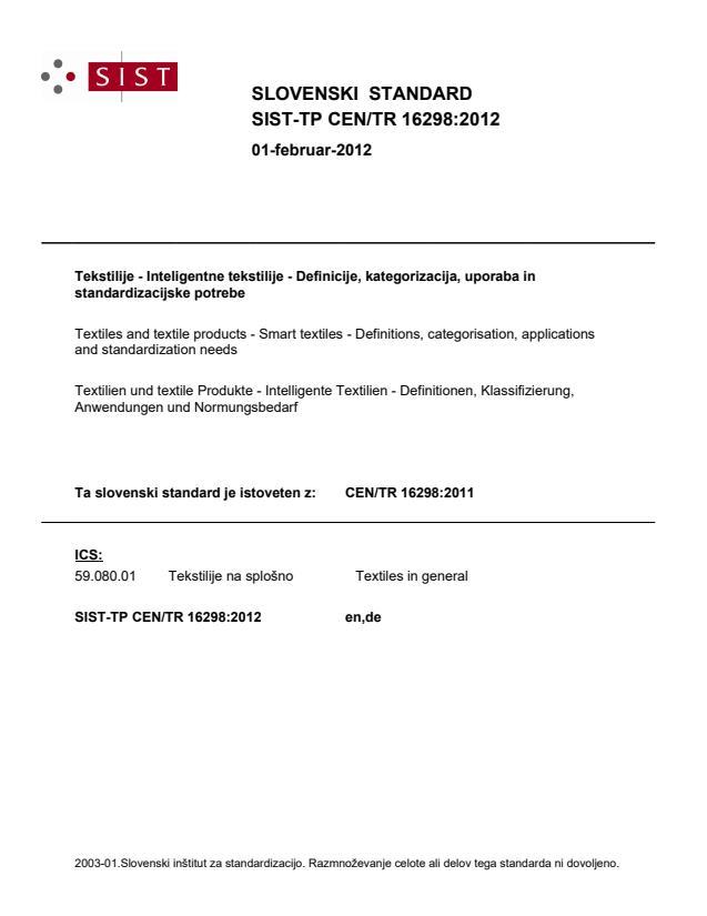 SIST-TP CEN/TR 16298:2012