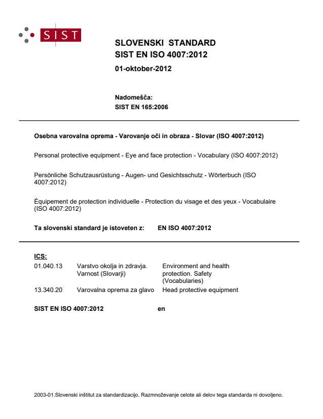 SIST EN ISO 4007:2012
