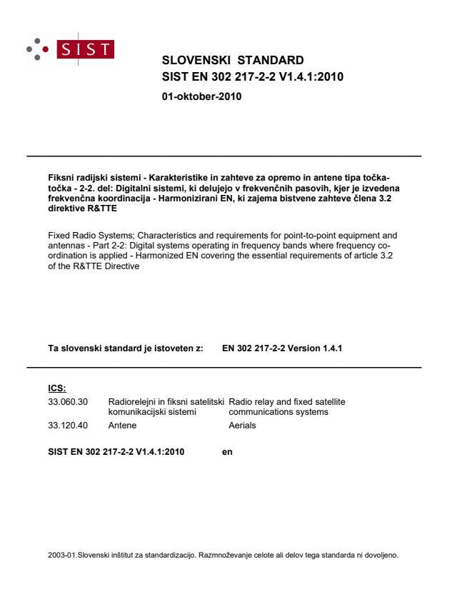 SIST EN 302 217-2-2 V1.4.1:2010