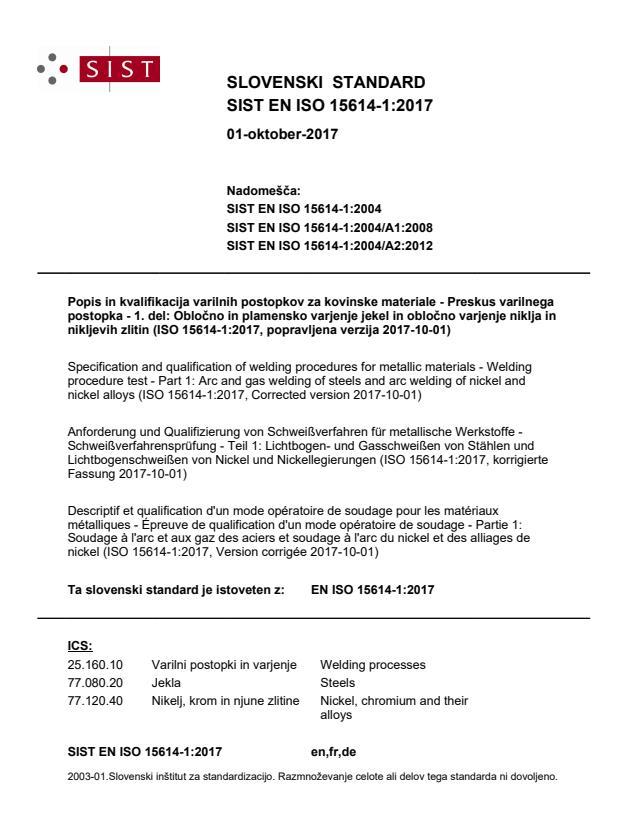 SIST EN ISO 15614-1:2017