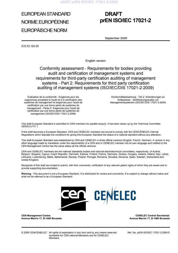 prEN ISO/IEC 17021-2