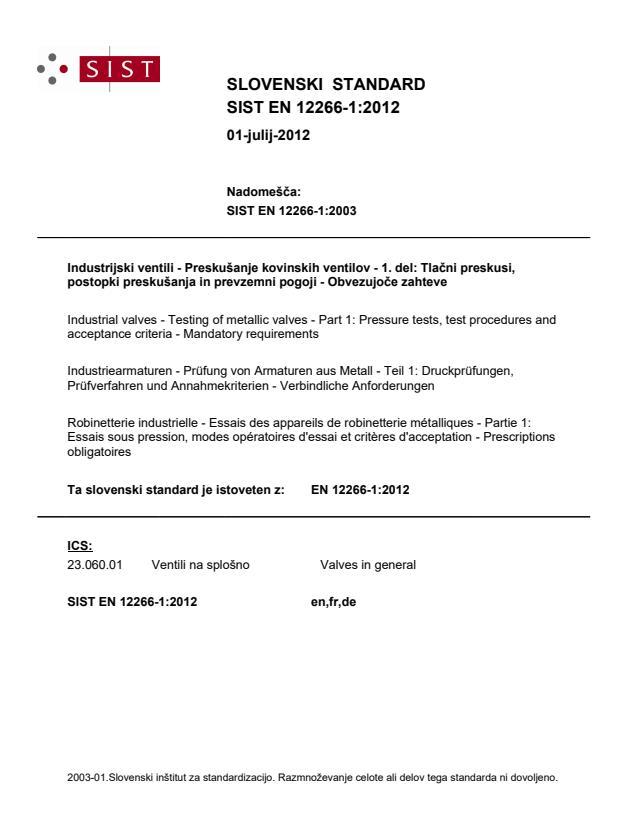 EN 12266-1:2012 - natisnjeno za čitalnico