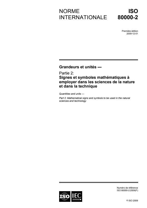 ISO 80000-2:2009 - Grandeurs et unités