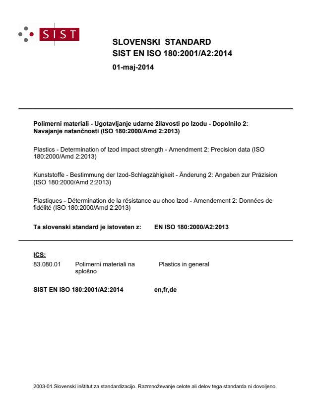 SIST EN ISO 180:2001/A2:2014