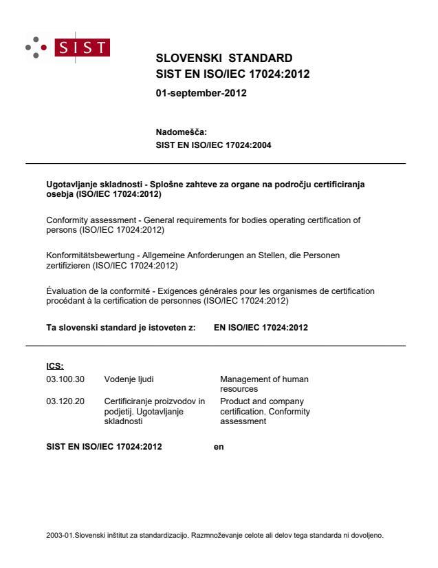 EN ISO/IEC 17024:2012