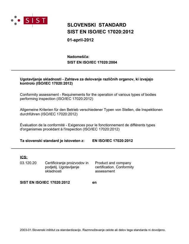EN ISO/IEC 17020:2012