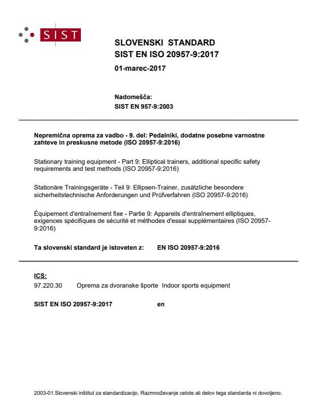SIST EN ISO 20957-9:2017