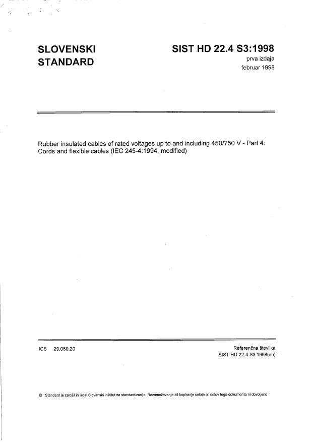 HD 22.4 S3:1998 - pravilno sestavljen standard, samo iz HD, število strani (24 str.) pravilno