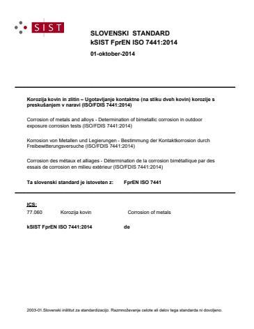 FprEN ISO 7441:2014