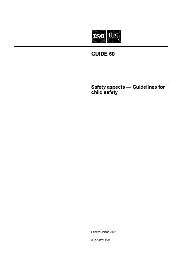 ISO/IEC Guide 50:2002 - Safety aspects -- Guidelines for child safety