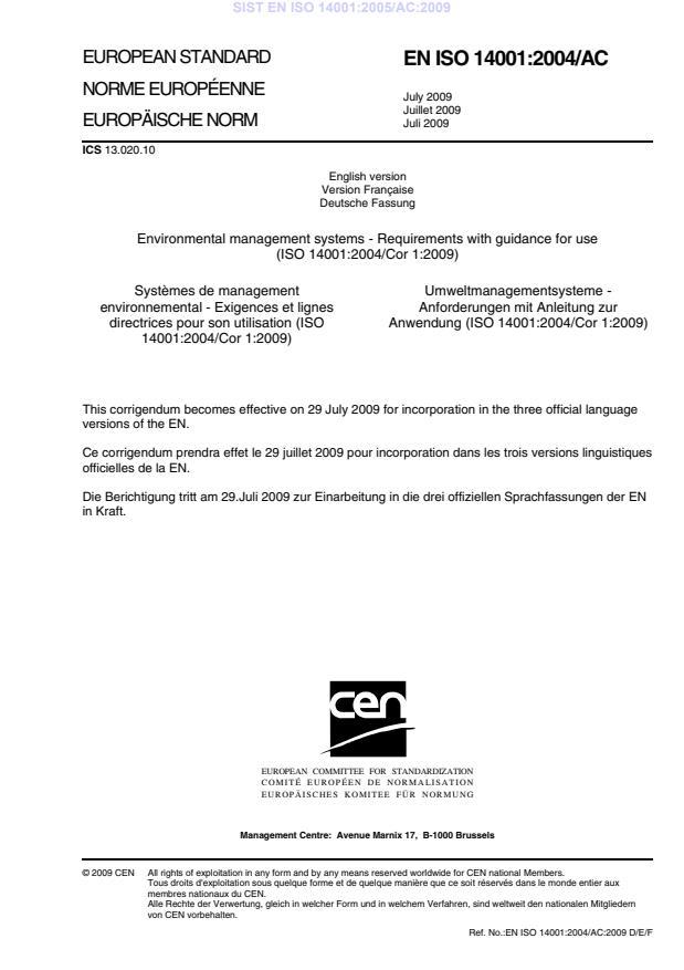 EN ISO 14001:2005/AC:2009