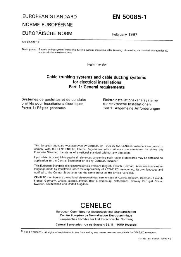 EN 50085-1:1999