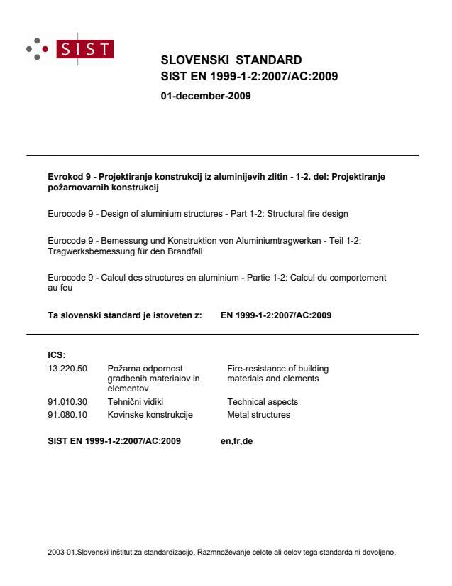 SIST EN 1999-1-2:2007/AC:2009