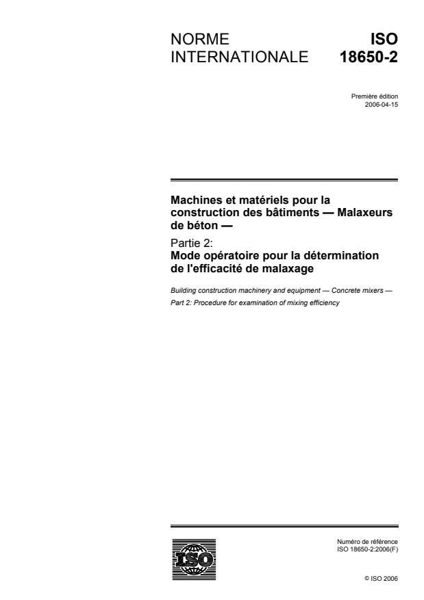 ISO 18650-2:2006 - Machines et matériels pour la construction des bâtiments -- Malaxeurs de béton