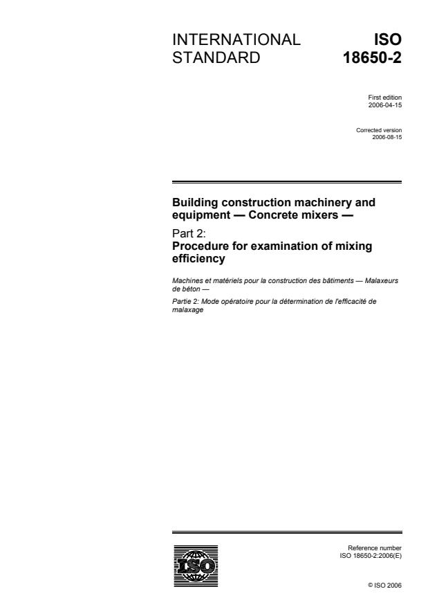 ISO 18650-2:2006 - Building construction machinery and equipment -- Concrete mixers