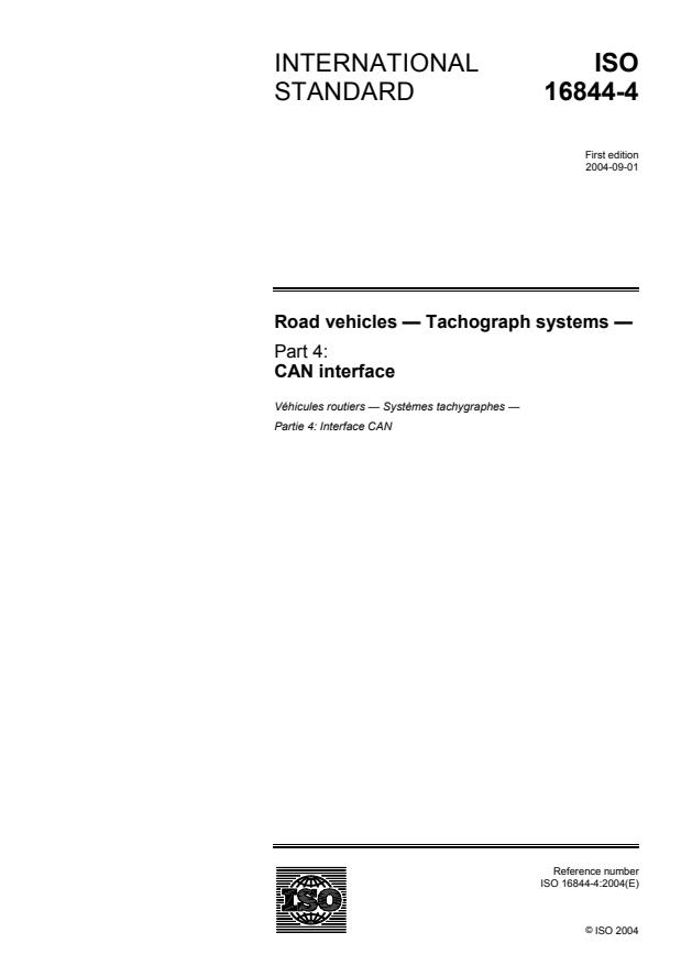 ISO 16844-4:2004 - Road vehicles -- Tachograph systems