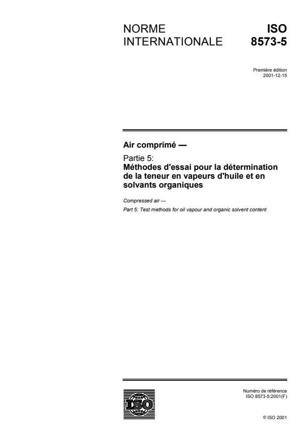 ISO 8573-5:2001 - Air comprimé