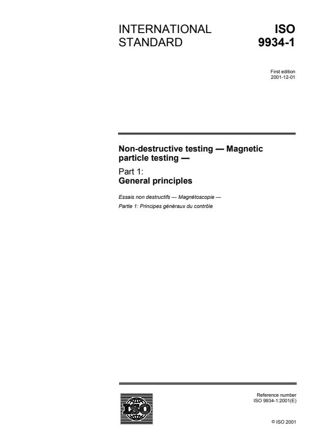 ISO 9934-1:2001 - Non-destructive testing -- Magnetic particle testing