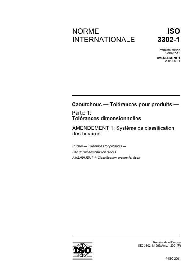 ISO 3302-1:1996/Amd 1:2001 - Systeme de classification des bavures