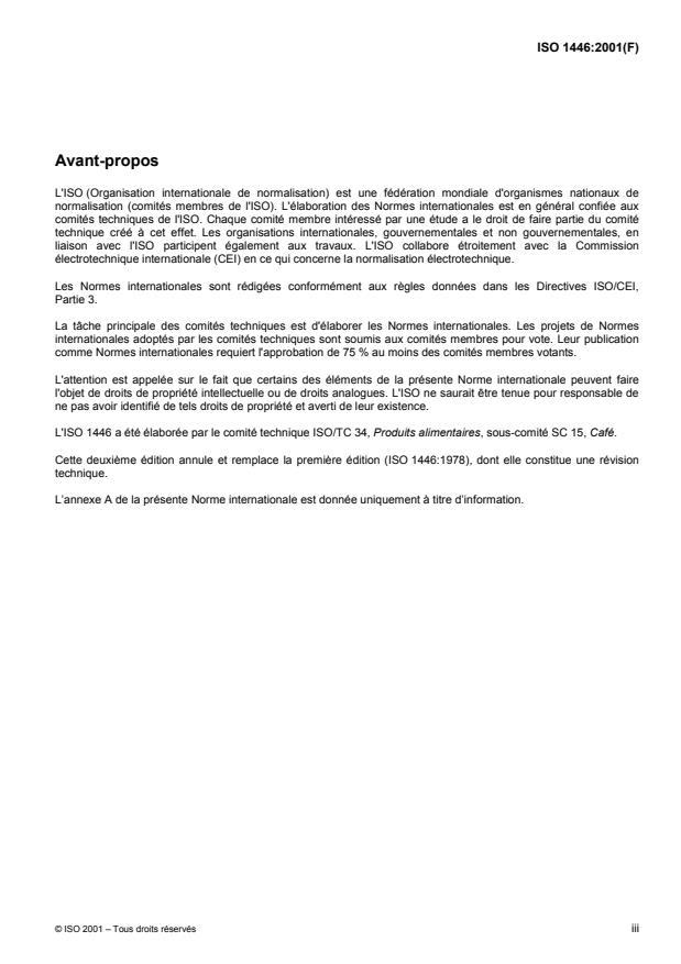 ISO 1446:2001 - Café vert -- Détermination de la teneur en eau -- Méthode de référence fondamentale
