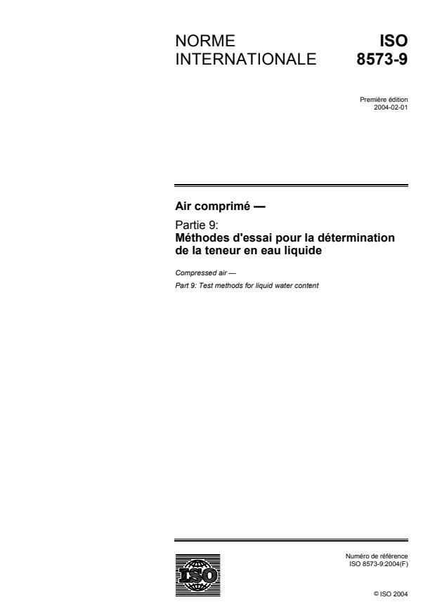 ISO 8573-9:2004 - Air comprimé