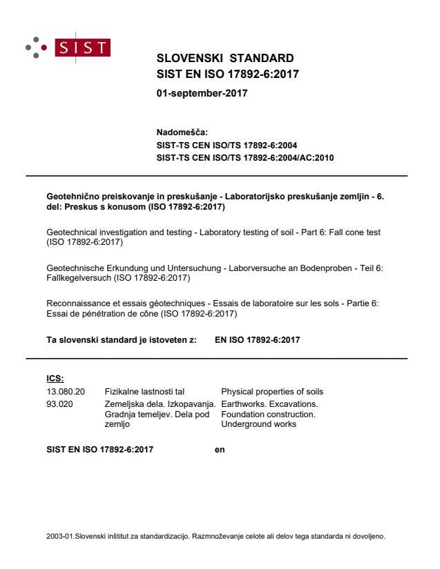 SIST EN ISO 17892-6:2017