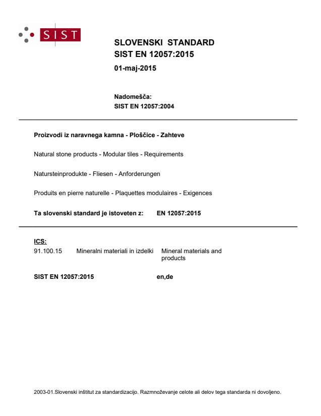 EN 12057:2015 - natisnjeno za čitalnico