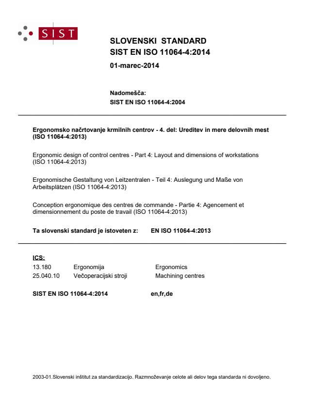 EN ISO 11064-4:2014 - natisnjeno za čitalnico