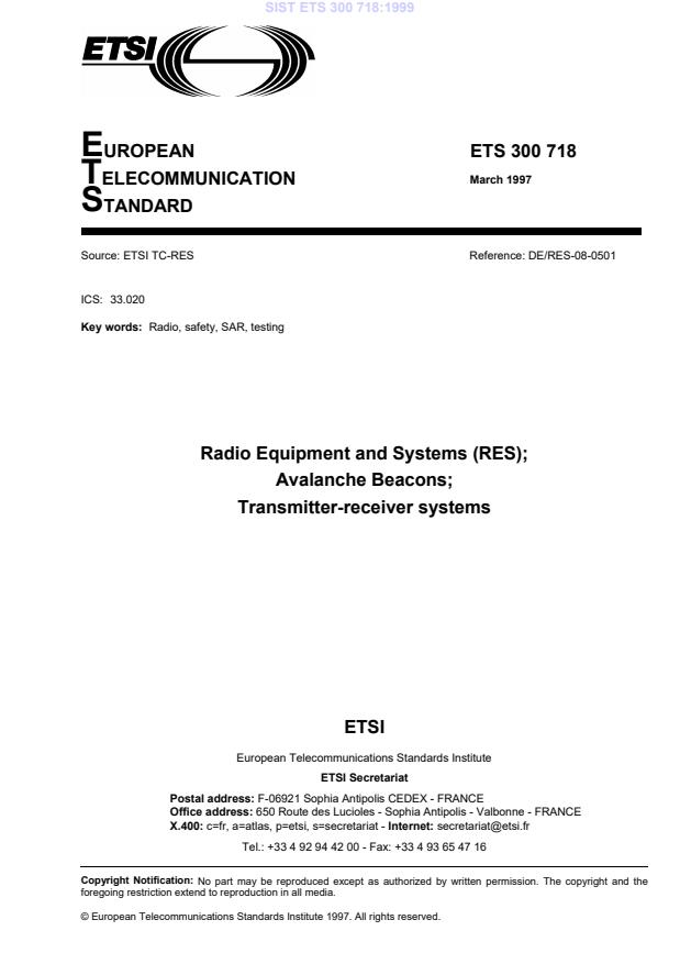 SIST ETS 300 718:1999