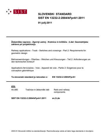SIST EN 13232-2:2004/kFprA1:2011