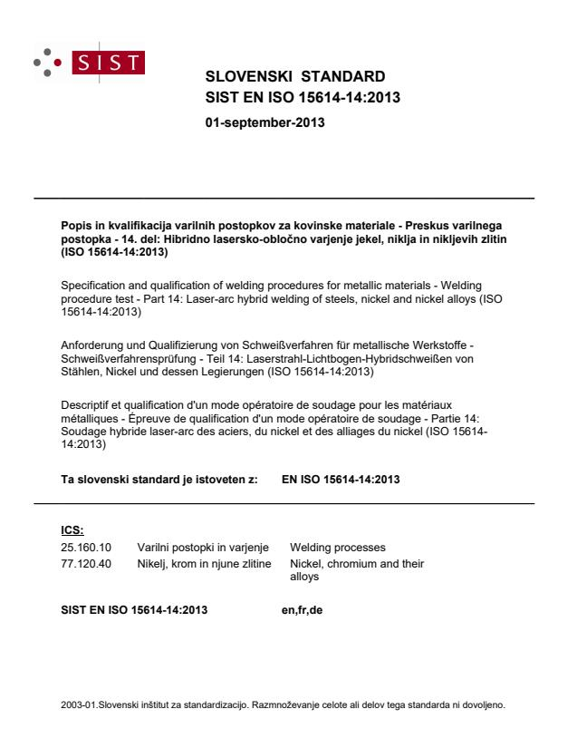 SIST EN ISO 15614-14:2013