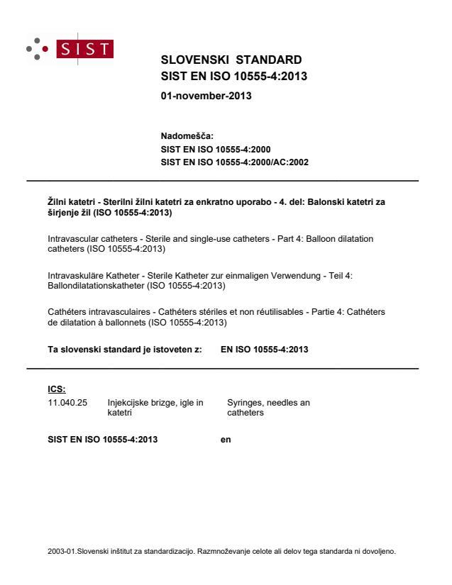 SIST EN ISO 10555-4:2013