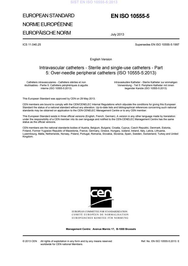 EN ISO 10555-5:2013 - Standard je bil natisnjen za čitalnico.