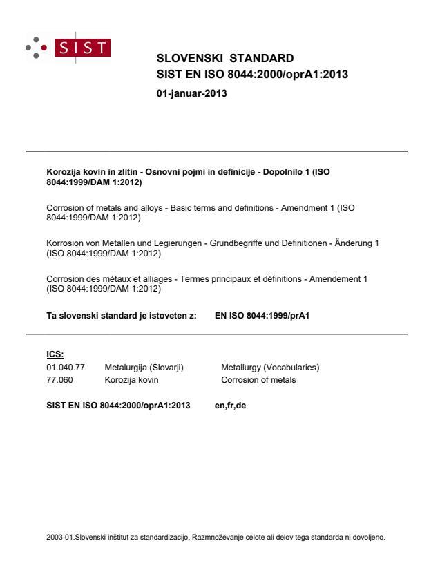 EN ISO 8044:2000/oprA1:2013