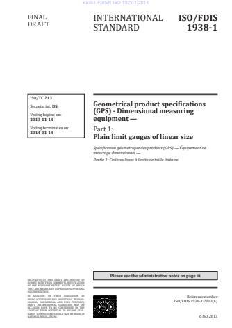 kSIST FprEN ISO 1938-1:2014