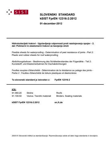 kSIST FprEN 12316-2:2012