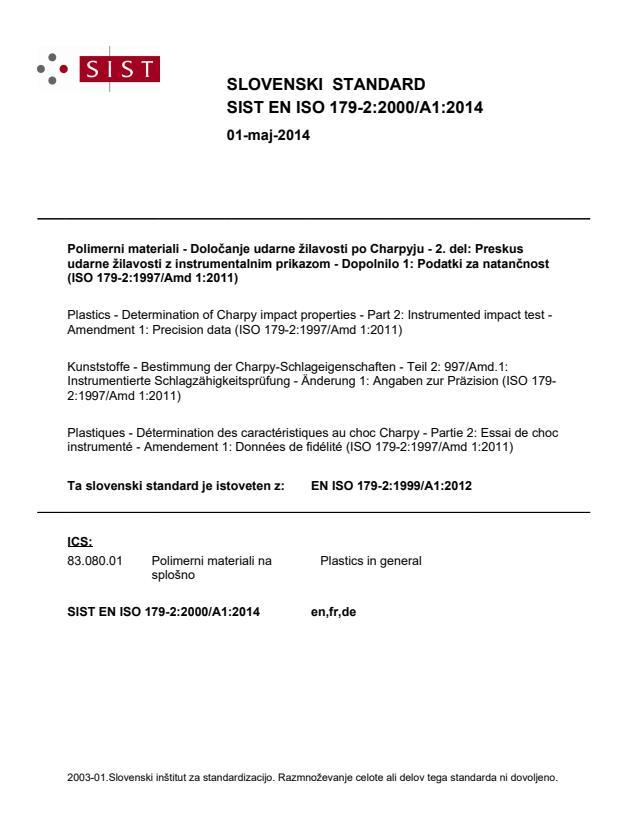 SIST EN ISO 179-2:2000/A1:2014
