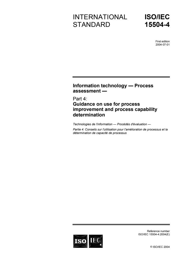 ISO/IEC 15504-4:2004 - Information technology -- Process assessment
