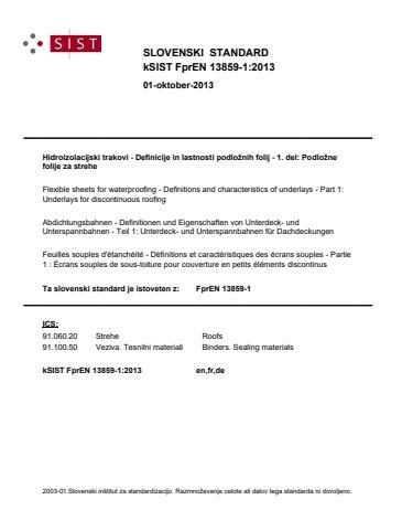 kSIST FprEN 13859-1:2013
