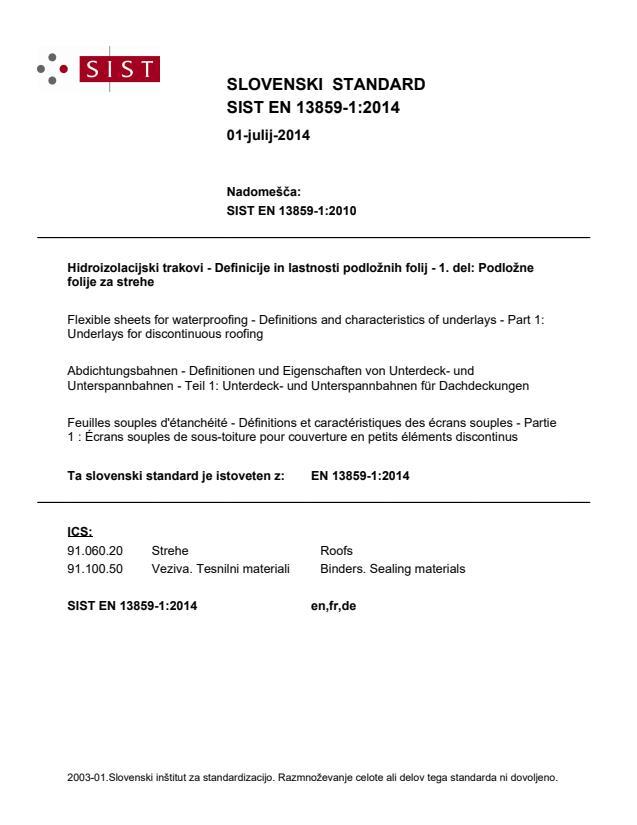 SIST EN 13859-1:2014 - natisnjeno za čitalnico