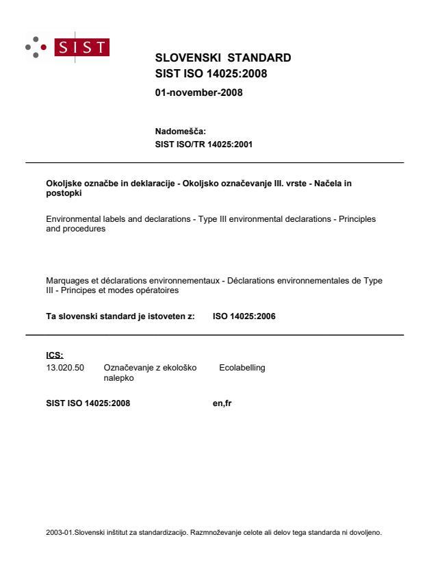 SIST ISO 14025:2008 - za prodajo GLEJ: SIST EN ISO 14025:2010