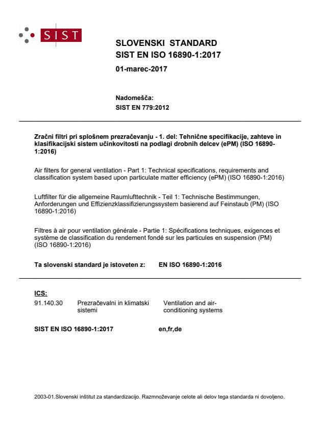"""SIST EN ISO 16890-1:2017 - POZOR: del standarda je tudi Excel datoteka """"ISO 16890-1 ePM CalcSheet_v4"""". BARVE na PDF-str 32"""